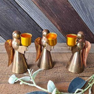 Vintage Copper & Brass Angel Taper Candle Holders